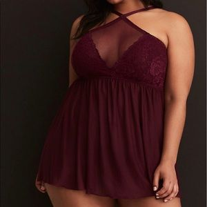 NWT High Neck Mesh and Lace Babydoll Lingerie
